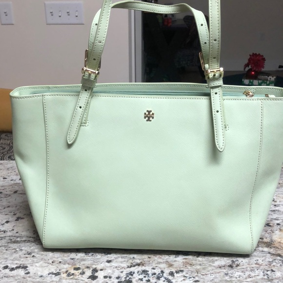 1c40927be659 Tory Burch Robinson Light Green Purse. M 5c3fc3913e0caaad93b5adb6